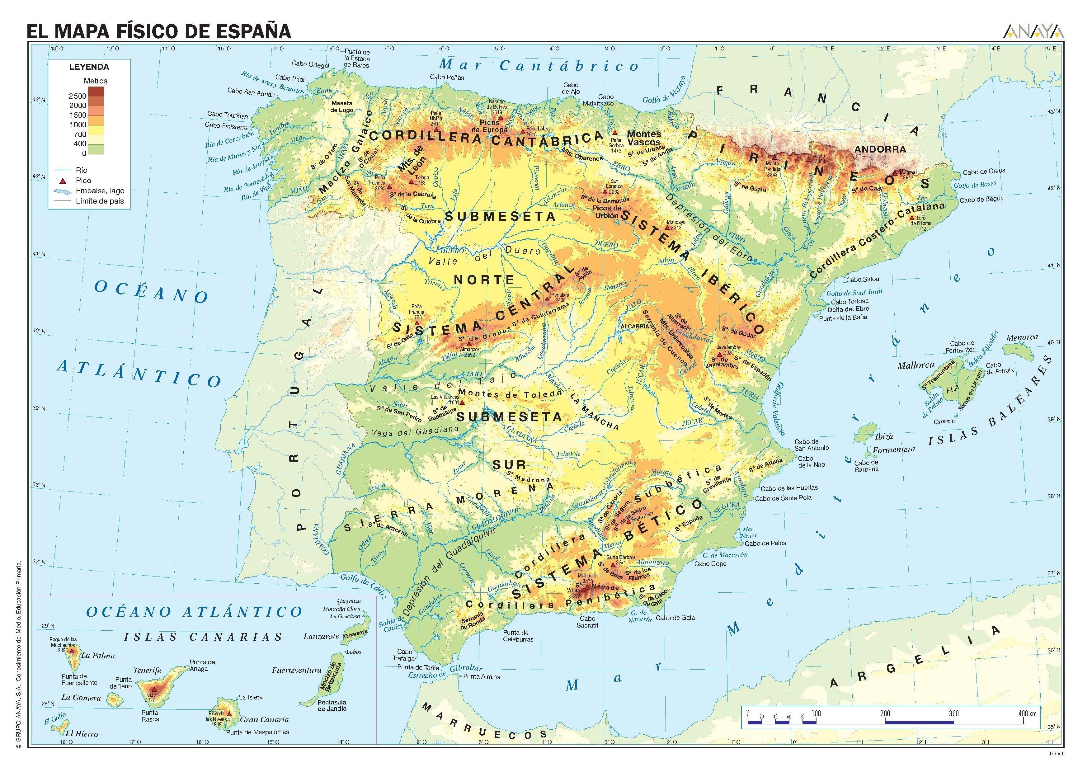 Cabo Ortegal Mapa Fisico.Mapas De Espana Karteikarten