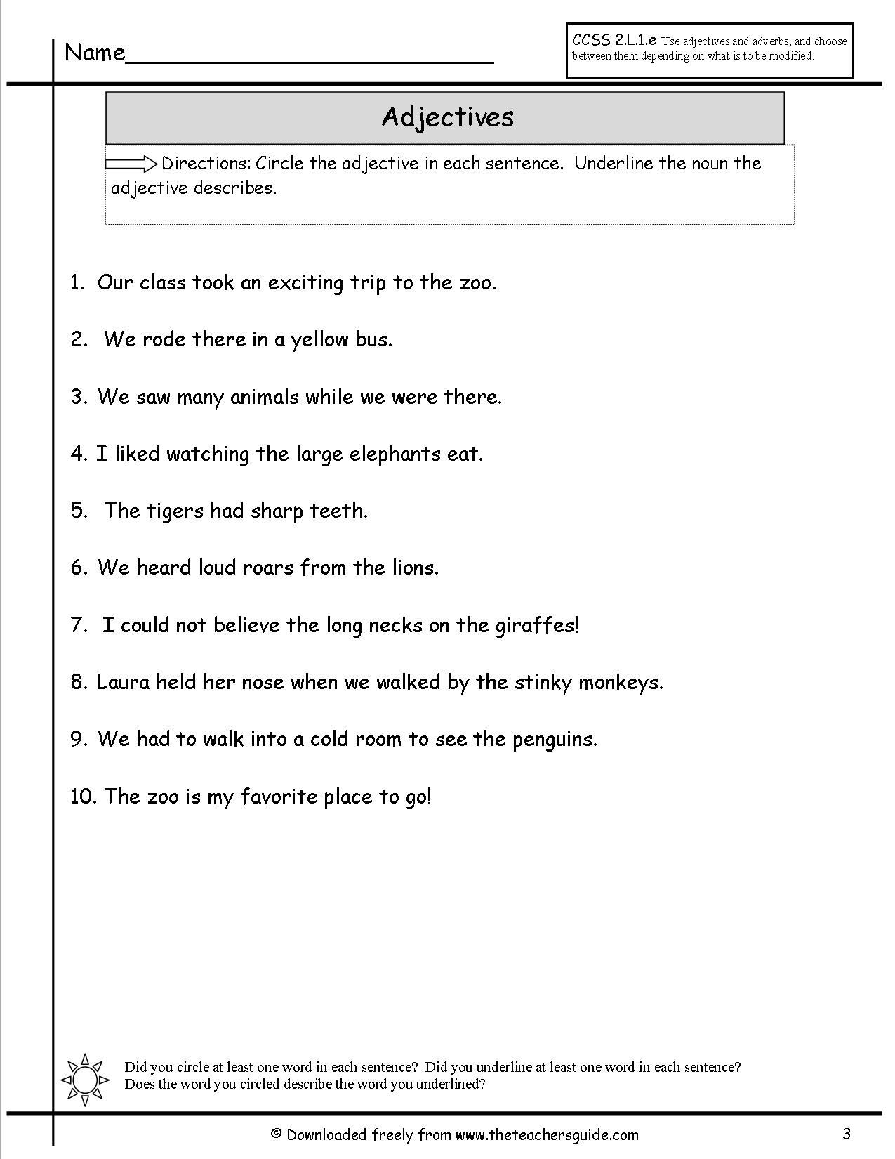 Worksheet Adjectives Homework goconqr english class adjectives 1 ex 4 circle the adjective and underline noun in sentence
